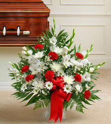 White and Red Sympathy Basket from Brennan's Florist and Fine Gifts in Jersey City
