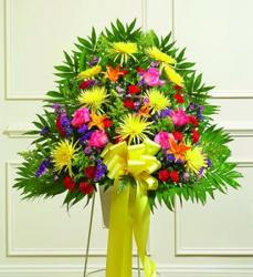 Full of life standing sympathy basket from Brennan's Florist and Fine Gifts in Jersey City