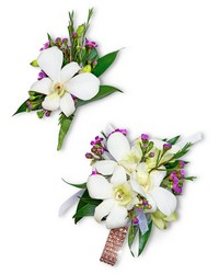 Flawless Corsage and Boutonniere Set from Brennan's Florist and Fine Gifts in Jersey City