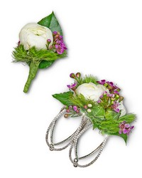 Intrinsic Corsage and Boutonniere Set from Brennan's Florist and Fine Gifts in Jersey City