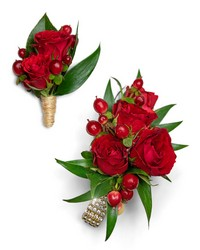 Crimson Corsage and Boutonniere Set from Brennan's Florist and Fine Gifts in Jersey City