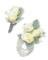 Virtue Corsage and Boutonniere Set from Brennan's Florist and Fine Gifts in Jersey City