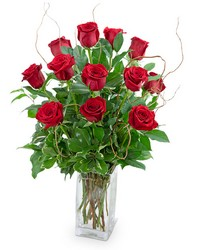 Dozen Red Roses with Willow from Brennan's Florist and Fine Gifts in Jersey City