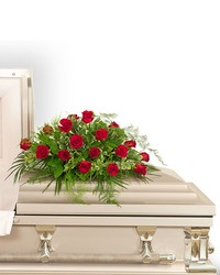 18 Red Roses Casket Spray from Brennan's Florist and Fine Gifts in Jersey City