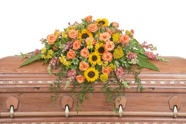 Heaven's Sunset Casket Spray from Brennan's Florist and Fine Gifts in Jersey City